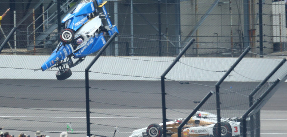 May 28, 2017; Indianapolis, IN, USA; IndyCar Series driver Scott Dixon (9) goes airborne and crashes in front of Helio Castroneves (3) during the 101st Running of the Indianapolis 500 at Indianapolis Motor Speedway. Mandatory Credit: Mark J. Rebilas-USA TODAY Sports ORG XMIT: USATSI-355346 ORIG FILE ID:  20170528_mjr_su5_021.JPG